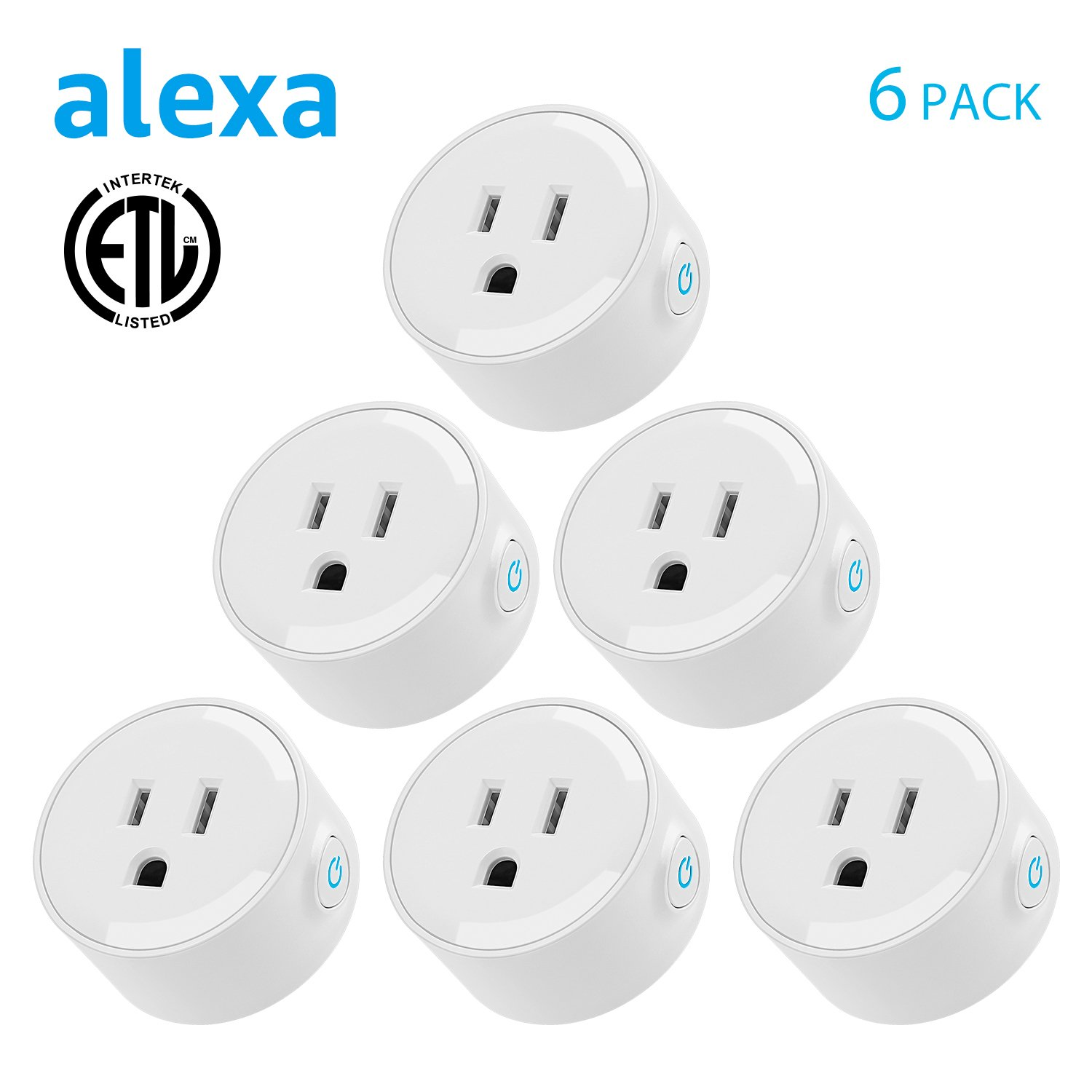 Wi-Fi Smart Plug, Mini Outlets work with Alexa, Voice APP Remote Control Socket from Anywhere with Timer Function, No Hub Required, 6 Pack