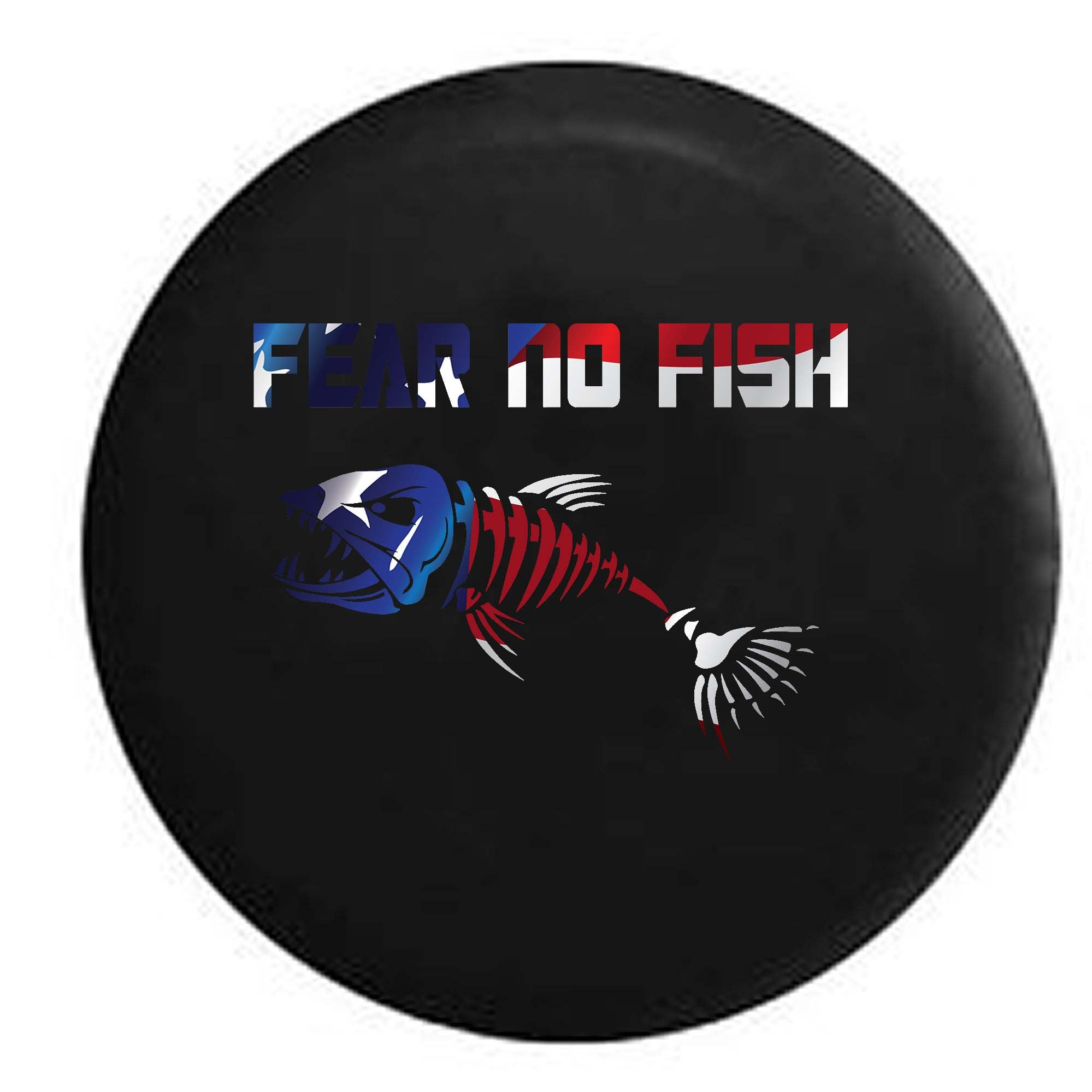 Pike Flag - Fear No Fish Skeleton Fishing Hunting Bass Walleye Trailer RV Spare Tire Cover OEM Vinyl Black 30 in by Pike Outdoors