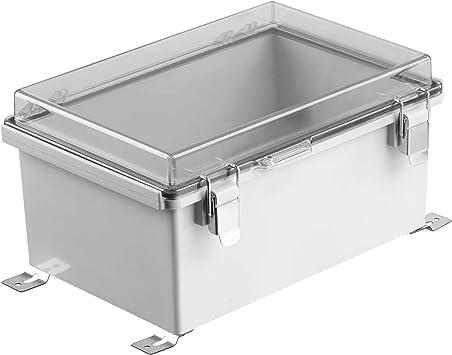 Gratury Caja de derivación, tapa con bisagras, clip de acero inoxidable IP67, carcasa de plástico impermeable para proyectos eléctricos, incluye placa de montaje y soporte de pared: Amazon.es: Bricolaje y herramientas