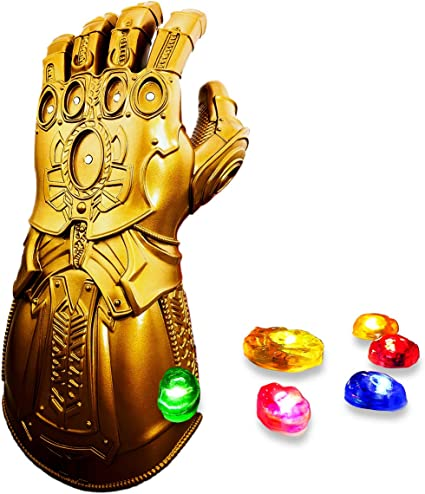 Haho Infinity Gauntlet Thanos Glove with 6 Detachable Infinity LED Stones Halloween Props