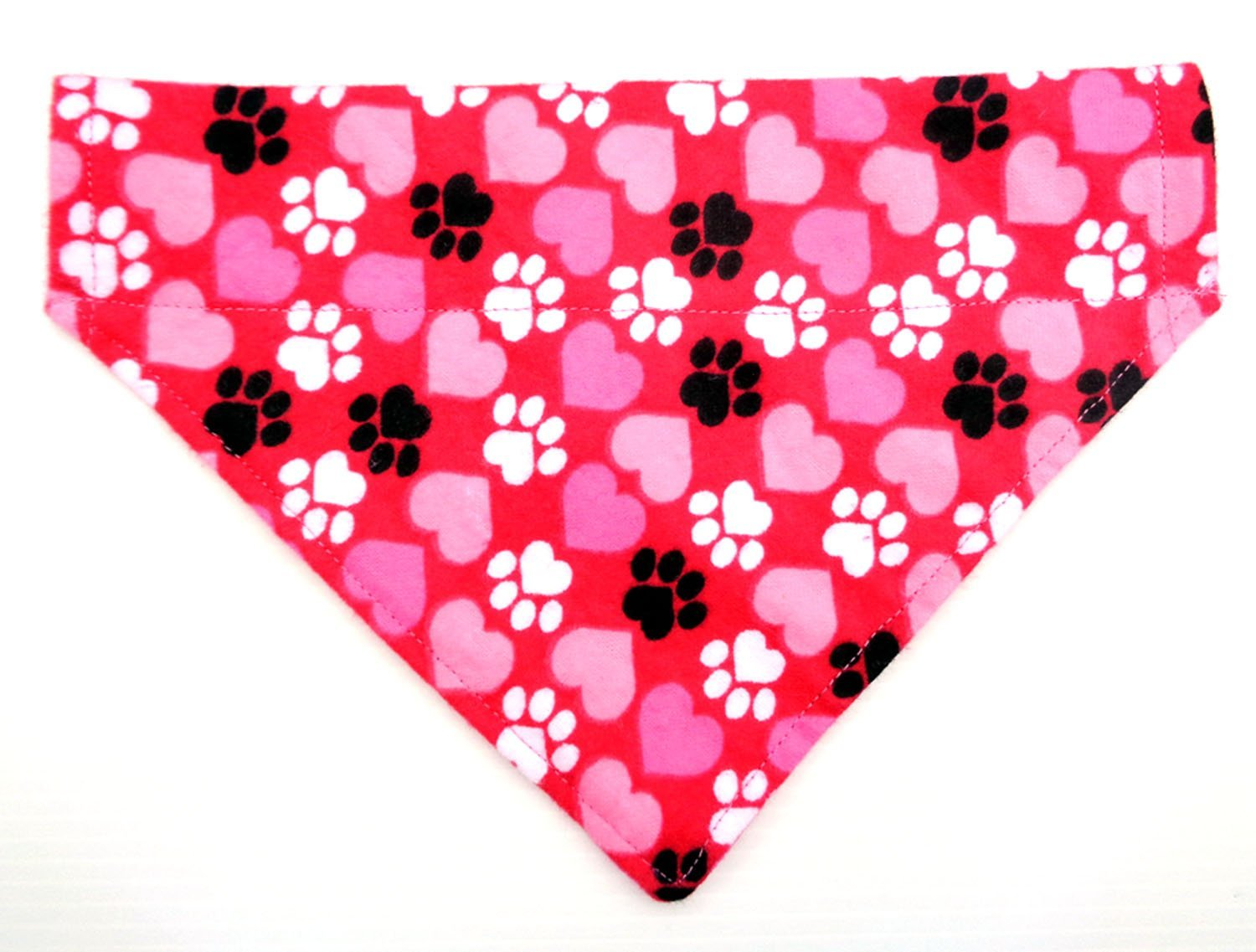 Pink Flannel Hearts and Paws Dog Bandana, Valentine's Day Dogwear Petwear, Over the Collar Thread Thru Slip Through Doggie Neckwear
