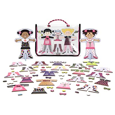 Melissa & Doug Tops & Tights - Magnetic Dress Up Wooden Doll & Stand & 1 Scratch Art Mini-Pad Bundle (04943): Toys & Games