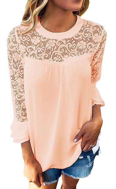 BLACKMYTH Mujer Manga Larga Crochet Splice Tops Redondo Moda Boho Blusa T-Shirt: Amazon.es: Ropa y accesorios