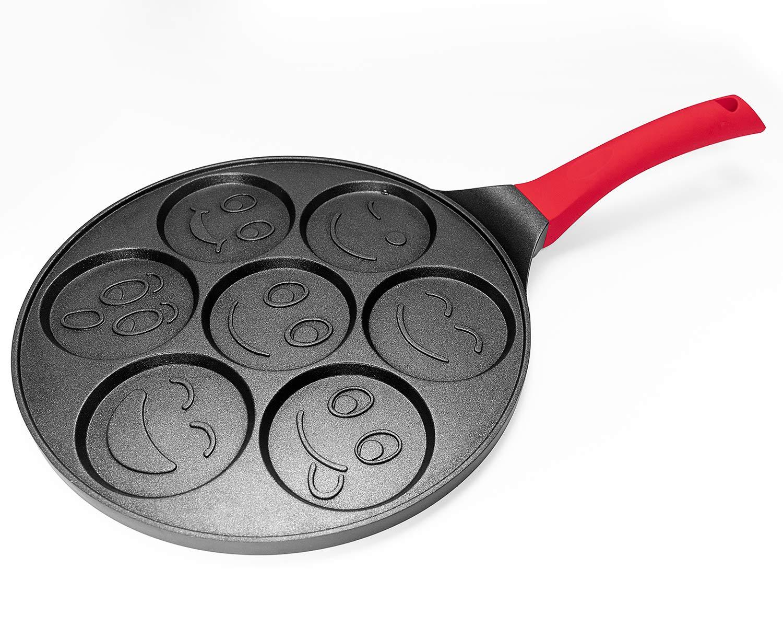 Pancake Mold Nonstick Pancake Pan 10 Inch Grill Pan Mini Blini Pancakes with Non-slip Handle, Emoji by WISETON