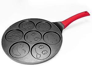 Pancake Mold Nonstick Pancake Pan 10 Inch Grill Pan Mini Blini Pancakes with Non-slip Handle, Emoji