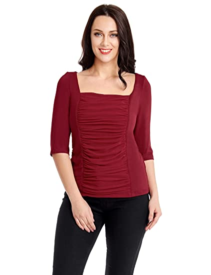 Utyful Women S Plus Size Square Neck Casual Ruched Mesh Overlay