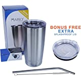 Marky Products Stainless Steel Tumbler 24 Hour - 20oz Multipurpose Premium High Performance Double Wall Vacuum Insulated 18/8 Food Grade Cup Best For Your Kitchen and Garden, Travel and Leisure Needs
