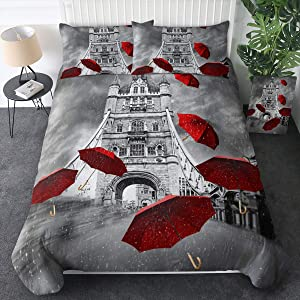 Sleepwish Paris City Eiffel Tower Bedding Duvet Cover Sets Red Umbrellas and Paris Eiffel Tower Print in Queen Size 3 Piece 3D Rainning Street Bedspread Black and White