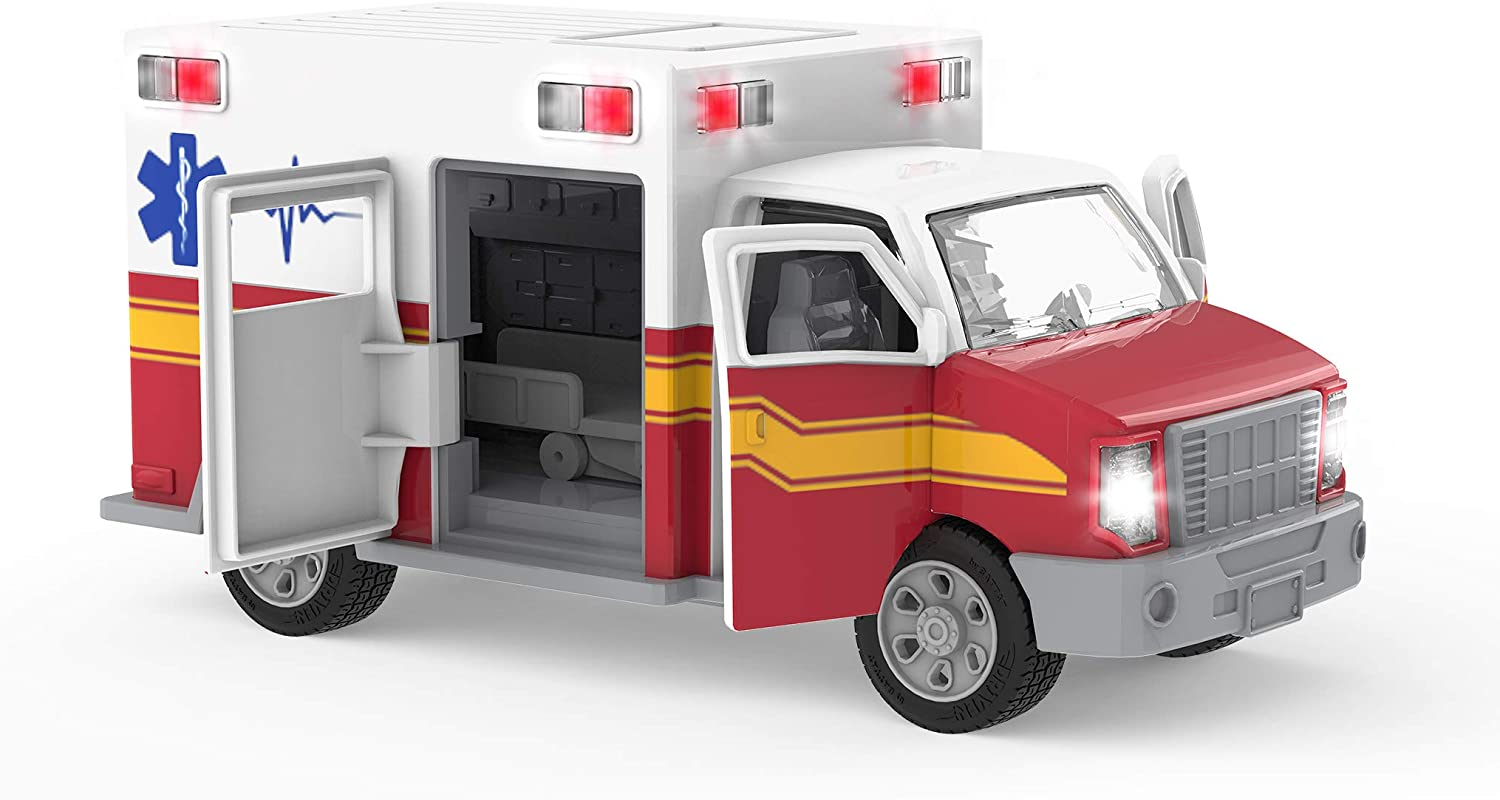 Ambulance Driven by Battat Rescue Trucks and Toys for Kids Aged 3 and Up Toy Truck with Lights and Sound