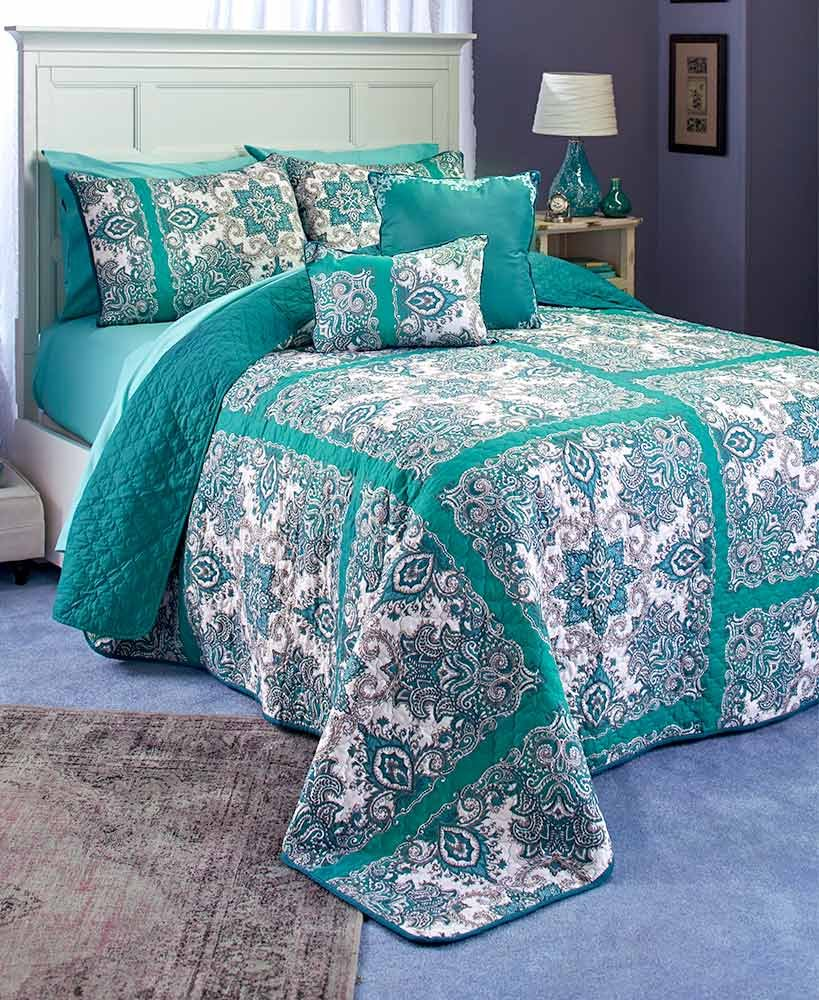 The Lakeside Collection Istanbul King Quilt Set Teal