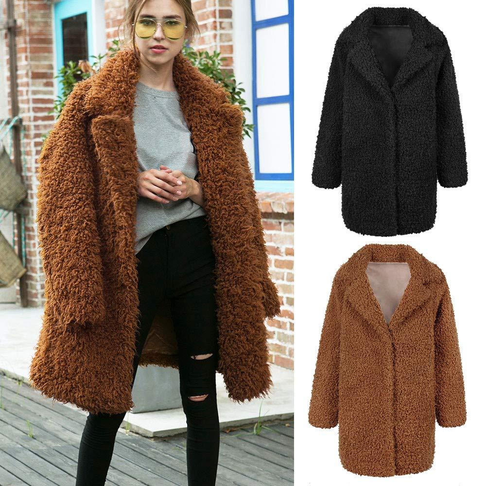 Coats Spessore Colore Vintage Caldo Giacca Pile Saihui Outwears Pelliccia Solido A Donna Jackets In Inverno Da amp; Maniche Cappotti women Lunghe CYfPqfU5