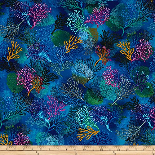 Timeless Treasures Sealife Vacation Coral Deep Fabric by The Yard