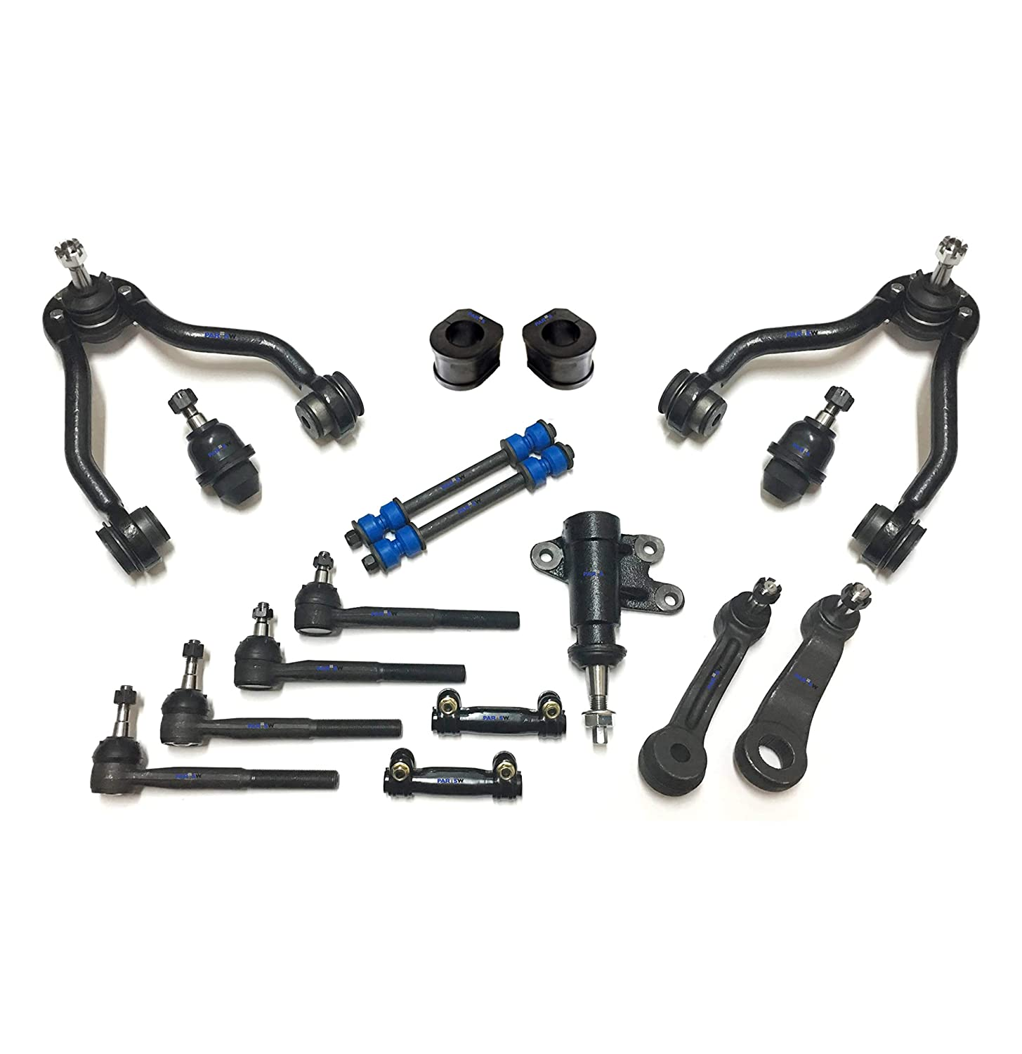 Idler /& Pitman Arms PartsW 17 Pc New Suspension Kit for Cadillac Chevrolet GMC//Adjusting Sleeves 1.25 inch Tie Rod Ends Front Sway Bar Frame Bushings 31.75mm Ball Joints Control Arms