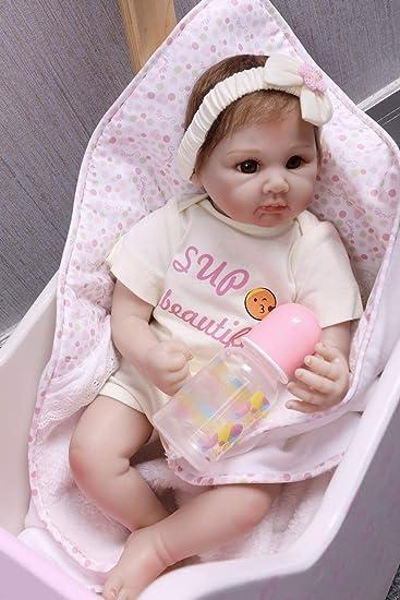 NPKDOLL Reborn Baby Bambino Reborn Bambola Morbido Silicone Vinile 22 Pollici 55 Centimetri Magnetica Bocca Realistica della Ragazza del Giocattolo Fiore Rosso Bambolina 74EXA1IT