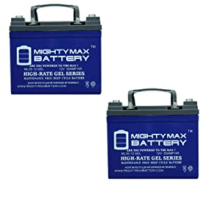 Mighty Max Battery 12V 35Ah Gel Battery for Rascal 600T Indoor Outdoor Scooter - 2 Pack Brand Product