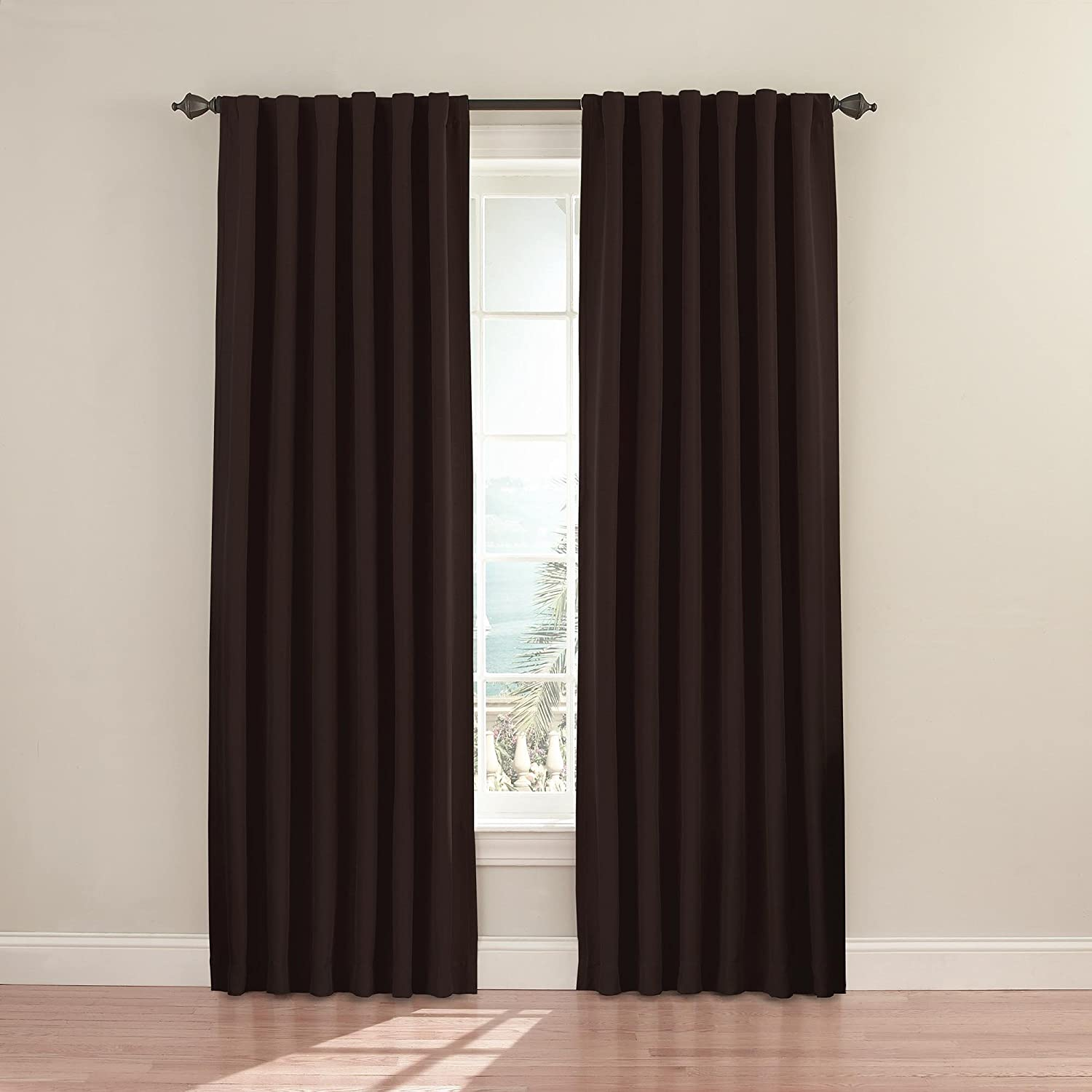 "ECLIPSE Fresno Thermal Insulated Single Panel Rod Pocket Darkening Curtains for Living Room, 52"" x 63"", Espresso"