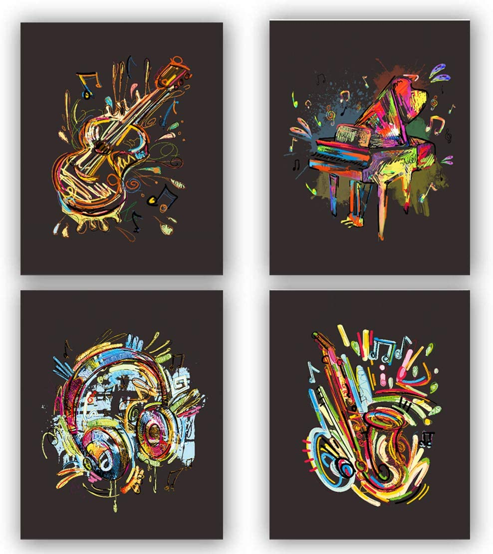 Watercolor Musical Instrument art Prints, Headphones Pictures for Wall Decor,4 sets music prints, piano, violin, saxophone, headphones, musical note canvas posters are a good choice for music room and home decoration.