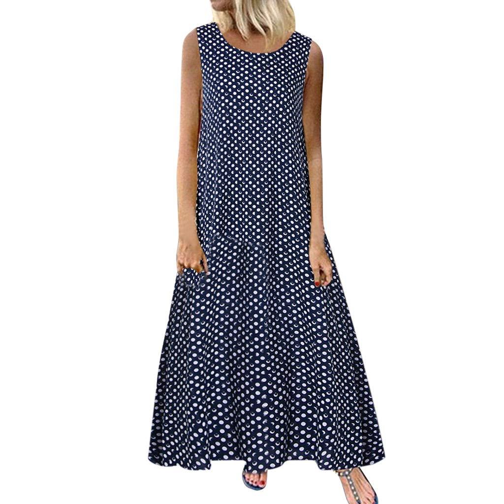 Women Casual Floor Length Long Dress Floral Printed Maxi Dress Sleeveless T Shirt Dress Summer Beach Dress by Lowprofile by Lowprofile Dress