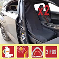 Throw Over Seat Cover Set, Slip On Car Seat Covers, Black Universal Front Pair, Airbag Safe