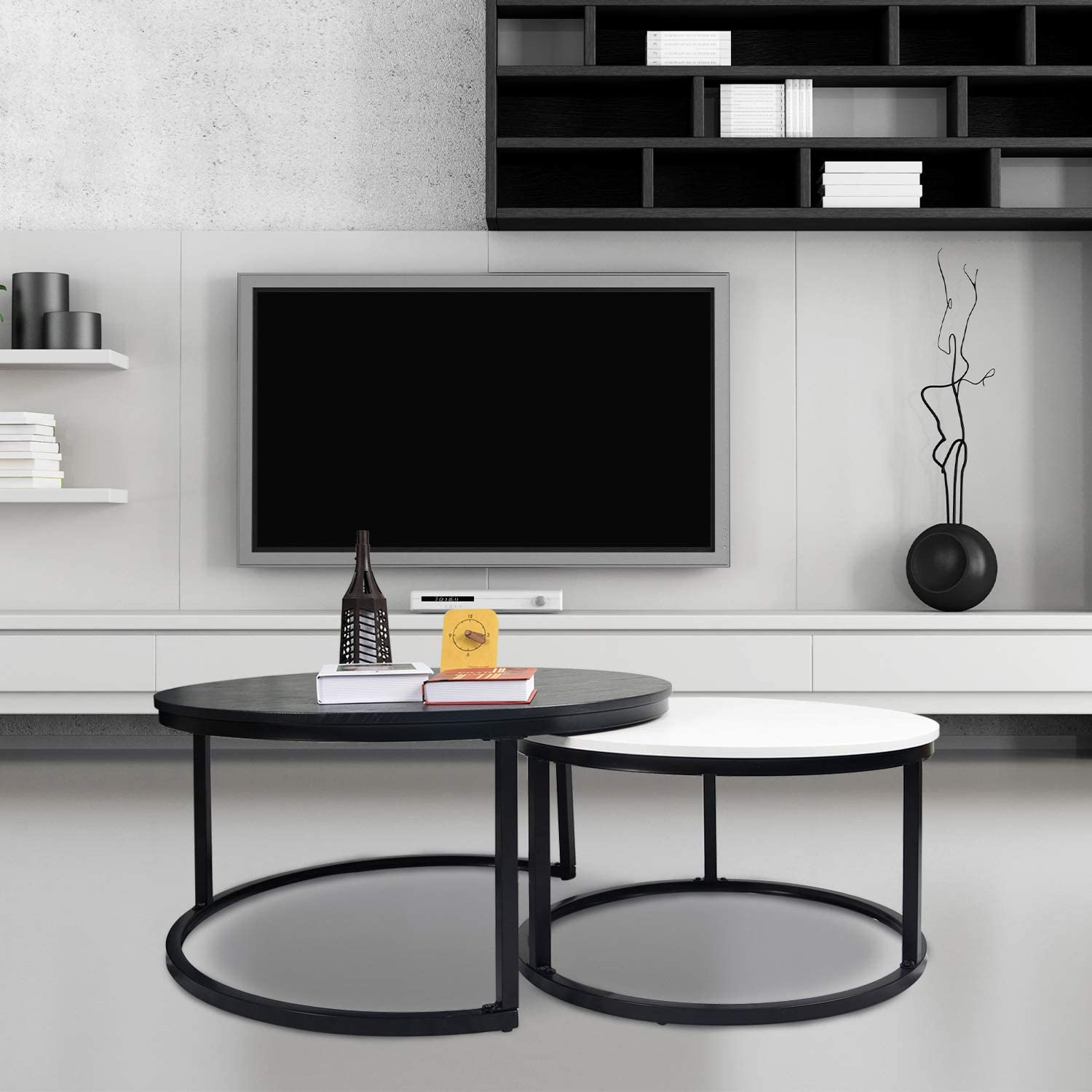 charaHOME Round Coffee Tables,2 Round Nesting Table Set Circle Coffee Table with Storage Open Shelf for Living Room Modern Minimalist Style Furniture Side End Table of Stable(Black & White): Kitchen & Dining