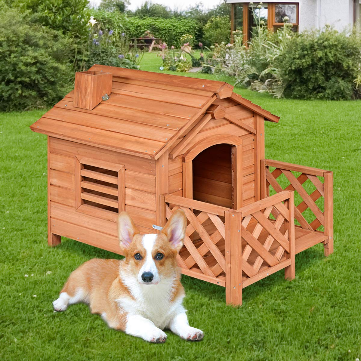 Tangkula Pet Dog House, Wooden Dog Room with Porch & Fence, Raised Vent and Balcony for Outdoor & Indoor Use, Pet House Shelter for Puppies and Dogs, Wood Dog House Dog Kennel