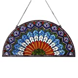 Bieye W10034 Peacock Feather Tiffany Style Stained Glass Window Panel Hangings with Chain, 36 inches Wide Half Round…
