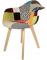 The concept factory Fauteuil scandinave Patchwork Multicolore