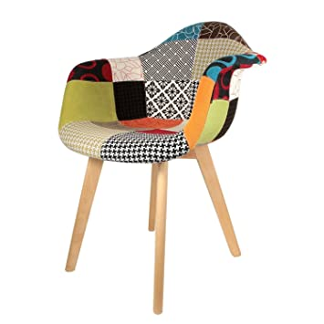 the concept factory fauteuil scandinave patchwork multicolore - Chaise Scandinave Multicolore