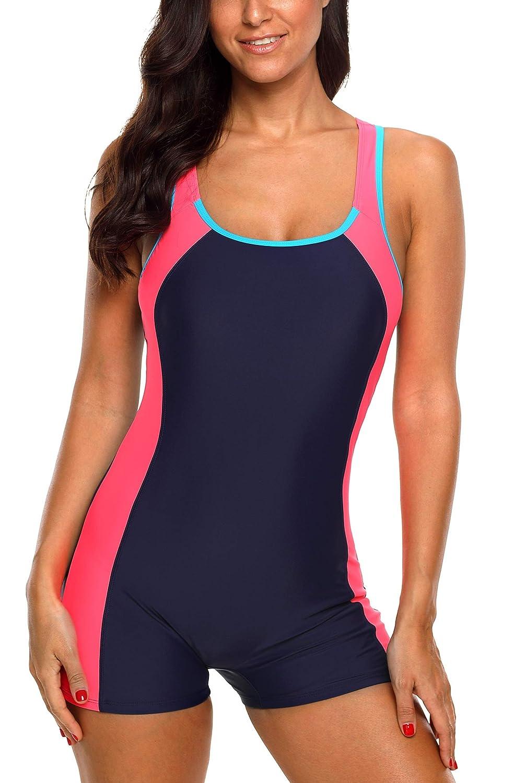 972a69ca4ea85 Amazon.com  Vegatos Women Boyleg One Piece Swimsuit Athletic Racerback  Swimwear Bathing Suit  Clothing
