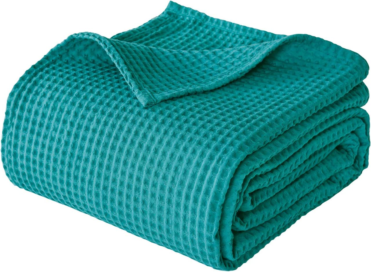 "PHF 100% Cotton Waffle Weave Thermal Blanket for Home Decorations - Soft Comfortable Breathable and Moisture Absorption for All Season - Perfect for Couch Bed Sofa Queen Size 90"" x 90"" Green"