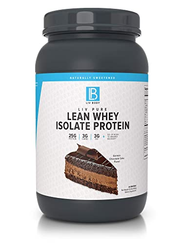 LIV Body LIV Pure Lean Whey Isolate Protein Gluten Lactose Free No Artificial Sweeteners, Low Fat, Low Carbs, 25g of Protein, Hormone Free, Gluten Free, Soy Free German Chocolate Cake
