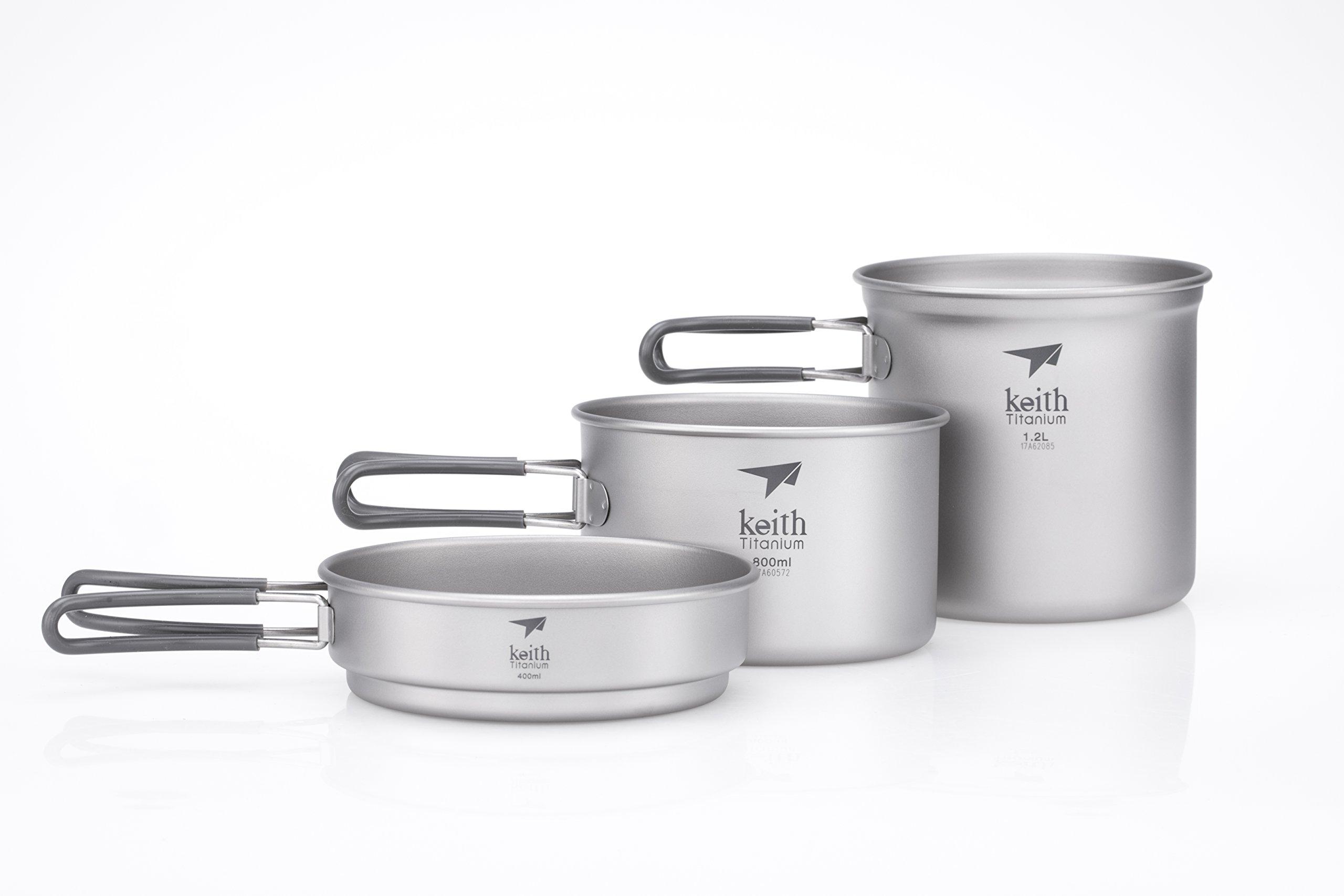 Keith Titanium Ti6014 3-Piece Pot and Pan Cook Set - 2400ml (Limited Time Price) by Keith Titanium