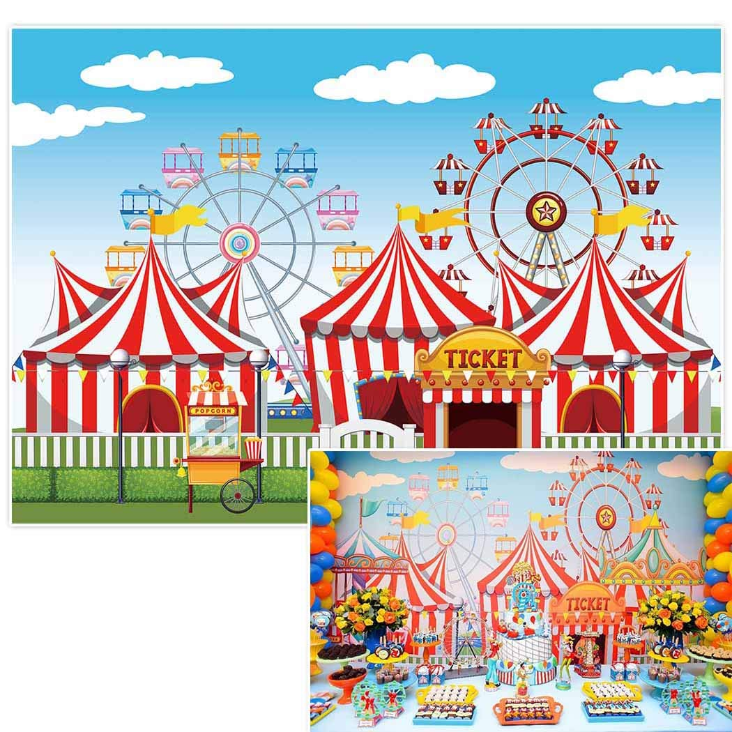 Allenjoy 10x6.5ft Circus Backdrop backdrops Amusement Park Tents Stratus Playground Carnival Carousel Kids Birthday Party Banner Background Photo Studio Booth photocall