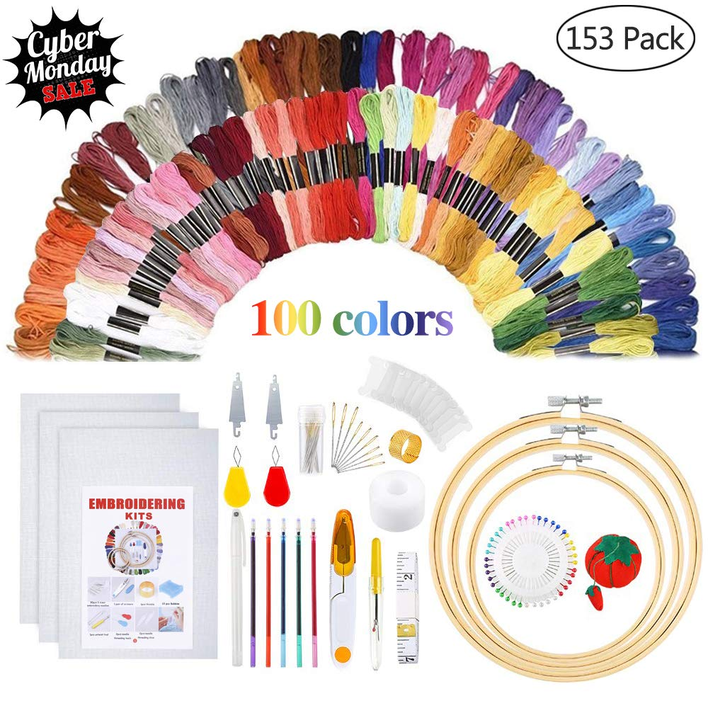 5 PCS Bamboo Embroidery Hoops Instructions Embroidery Starter Kit Embroidery Kit Including 100 Color Threads Circular Packing Bag and Cross Stitch Tools for Adults and Kids Beginners