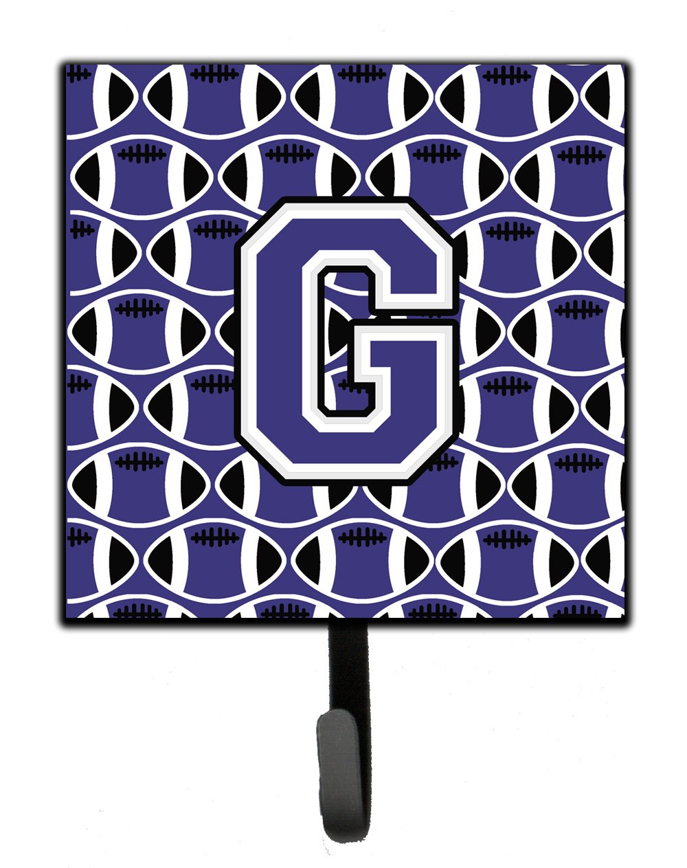 Carolines Treasures Letter G Football Purple and White Leash or Key Holder CJ1068-GSH4 Small Multicolor