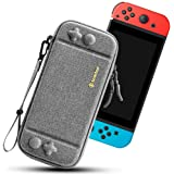 tomtoc Carry Case for Nintendo Switch, Ultra Slim Hard Shell with 10 Game Cartridges, Protective Carrying Case for Travel, Portable Pouch with Original Patent and Military Level Protection, Gray