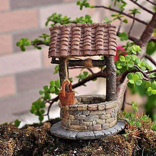 mini pump faucet doll house fairy garden Miniature water well faucet mini well red birds fairy garden well mini water faucet bucket,