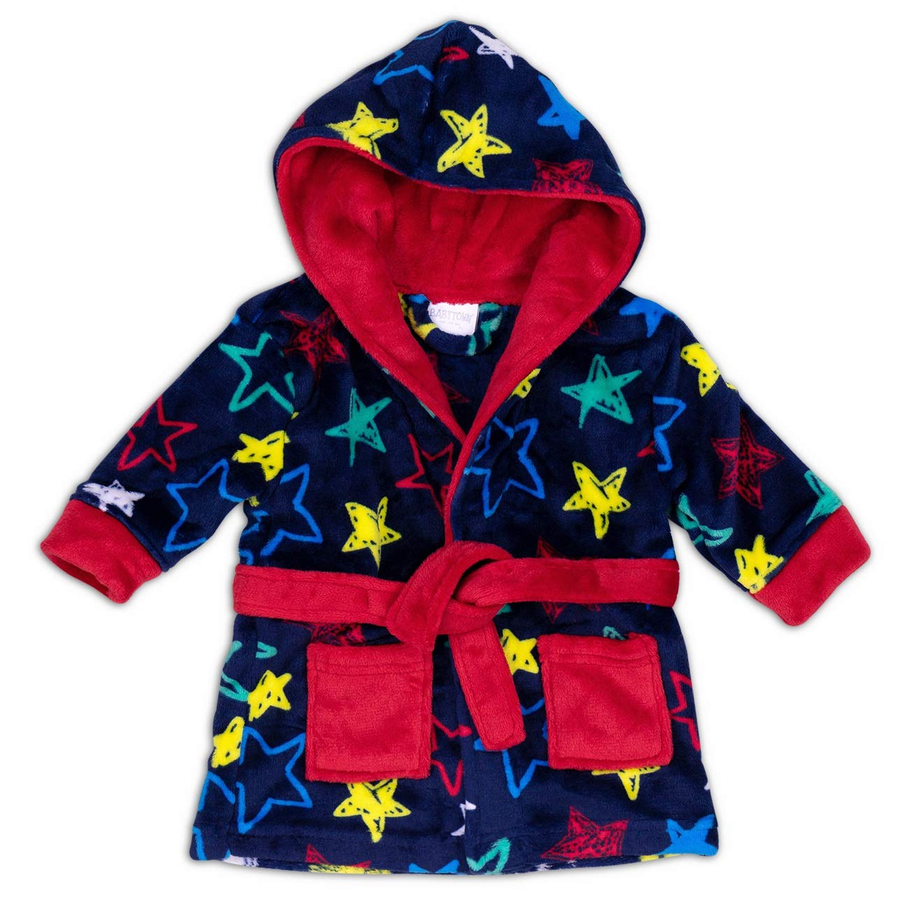 Babytown Baby Bademantel dunkelblau rot | Motiv: Sterne | Bademantel mit Kapuze für Neugeborene & Kleinkinder | Größe: 12-18 Monate (80/86)
