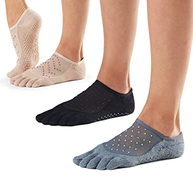 Toesox Womens Toesox Grip Pilates Barre Socks Non Slip Luna Full Toe for Yoga /& Ballet Socks