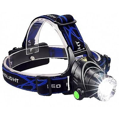 Lampe frontale à LED, rechargeable, ultra claire Lithium Tête Lampe, résiste aux intempéries et aux chocs et longue durée, idéal pour activités en extérieur par exemple C