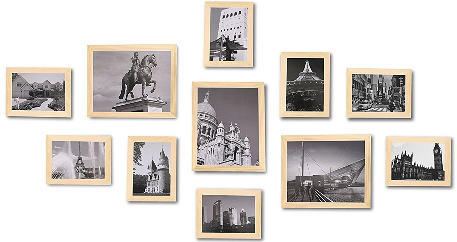WOOD MEETS COLOR Wall Picture Frames Set of 11, With Hanging Template, Real Glass Window and Photo Mats, 3-8x10 and 8-5x7 Collage Frames (Original Color)