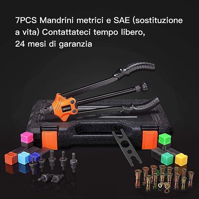 TACKLIFE Remachadora con M3, M4, M5, M6, M8, M10, tuerca de remache M12, mango de TPR, ahorro energético, apta para acero, grosor de 2 – 3 mm, llave integrada, 7 portabrocas, HHNP1A: