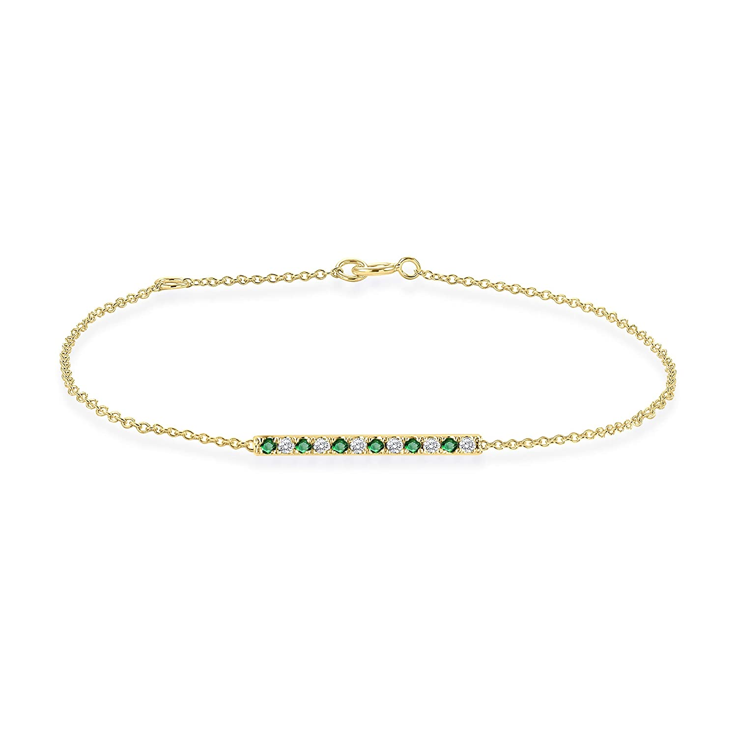Rare Earth Diamond Jewellery Round Cut Emerald with CZ Horizontal Bar Bracelet in 14K Gold Over Sterling Silver BR000537B-ALT-WH-GE-925-Y-6