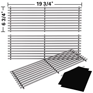 "SHINESTAR Stainless Steel Grill Grates Replacement for Chargriller 5050, 3001, 3008, 3030, 4000, 5252 Gas Grill & Charcoal Grill, King Griller 3008 5252, Set of 3 BBQ Cooking Grids (19 3/4"" x 6 3/4"")"