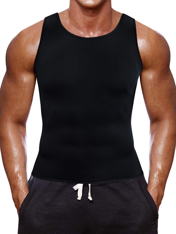 a6ef0ead92395 Amazon.com  Men Waist Trainer Corset Vest for Weight Loss Hot Neoprene  Slimming Body Shaper Sweat Tank Top Sauna Suit Workout Sport Shirt  Sports    Outdoors