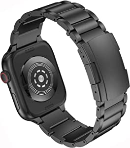 Anrir Compatible for Apple Watch 44mm 42mm Smart Watch, Titanium Metal Replacement Wrist Strap Bracelet with Double Button Clasp Compatible with Apple Watch Series 4 3 2 1 - Black…