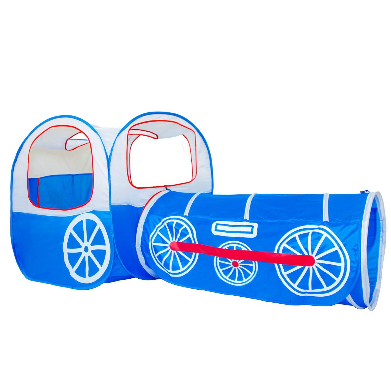 [ALPIKA]ALPIKA Train Kids Play Tent, Pop Up PolyesterTent, Tunnel and Ball Pit 02.L.68100-01 [並行輸入品] B01M8KQQ0K  Train Blue
