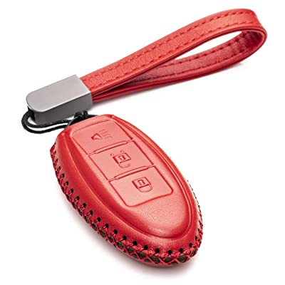 Vitodeco Leather Smart Key Fob Case Cover for 2020 Nissan Versa, Sentra, Altima, Maxima, Rogue, 2020 Infiniti Q50, Q60, QX50, QX60, QX80 and More Models (3 Buttons, Red): Automotive