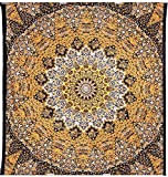 Indian-hippie Bohemian-psychedelic Star-mandala Wall-hanging-tapestry (Queen(84x90Inches)(215x230Cms), Yellow)