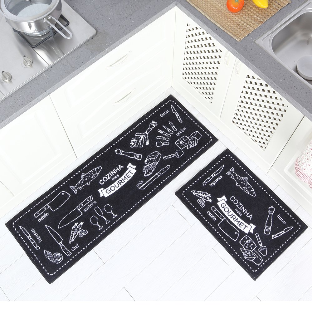 Carvapet 2 Piece Microfiber Non-Slip Kitchen Mat Rubber Backing Doormat Runner Rug Set, Cozinha Design (Black 15''x47''+15''x23'') by Carvapet (Image #2)